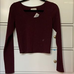Burgundy long sleep crop L